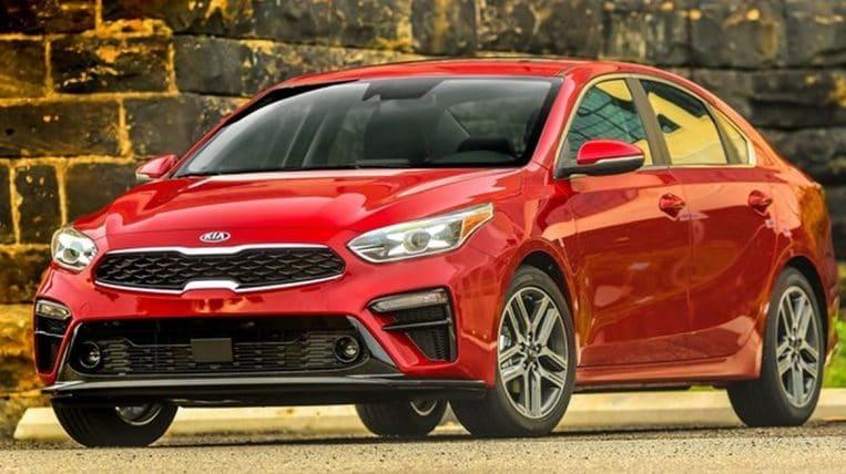 2019 Kia Forte in red.