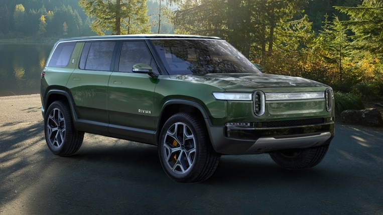 2022 Rivian R1S in green, in the woods
