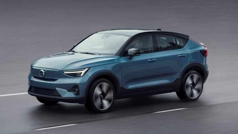 2022 Volvo C40 Recharge in blue driving