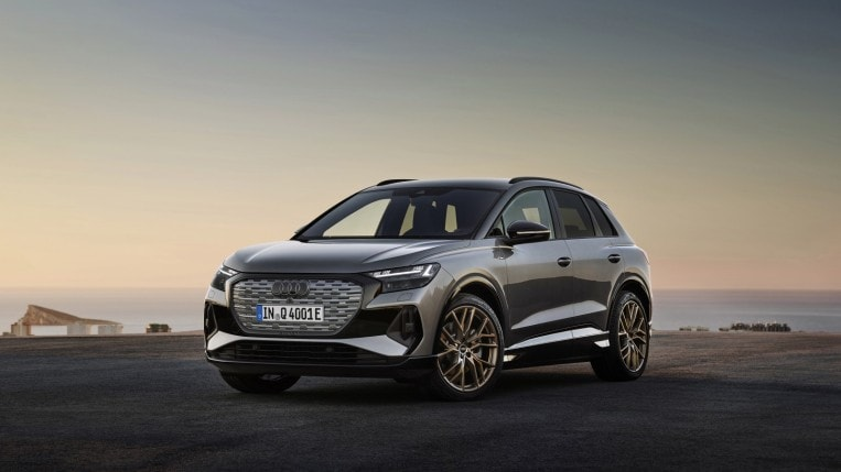 2022 Audi Q4 e-tron in grey, parked