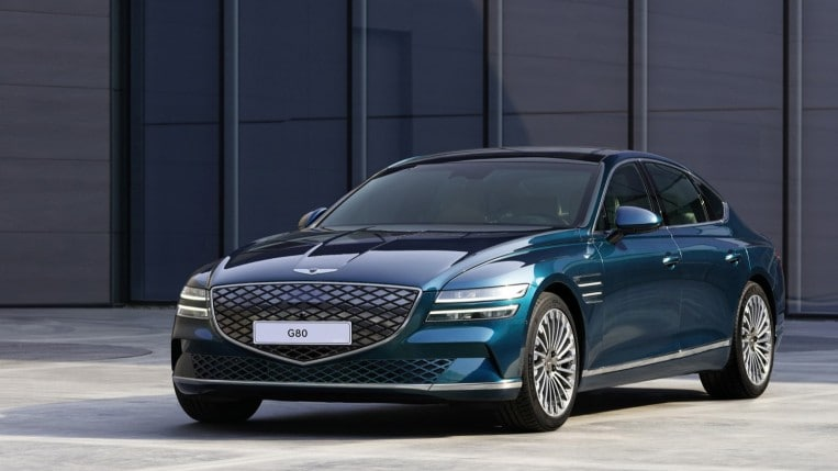 2022 Genesis Electrified G80 in green, parked
