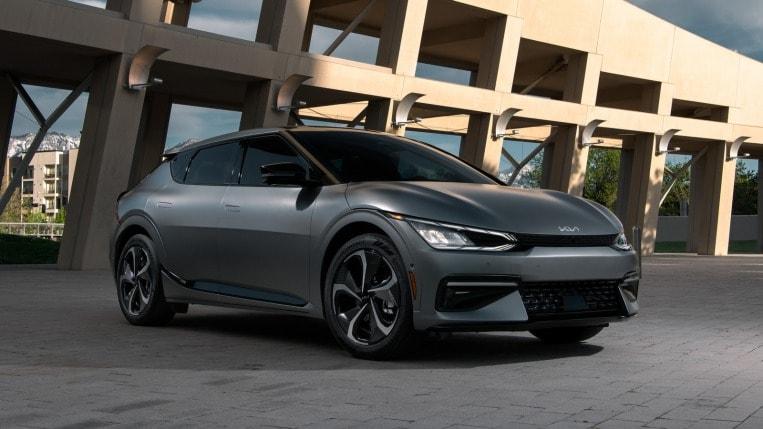 2022 Kia EV6 in charcoal, parked