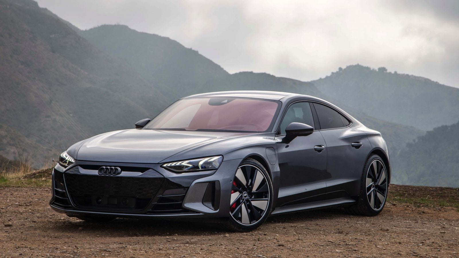 2022 Audi e-tron gt on a hill in grey